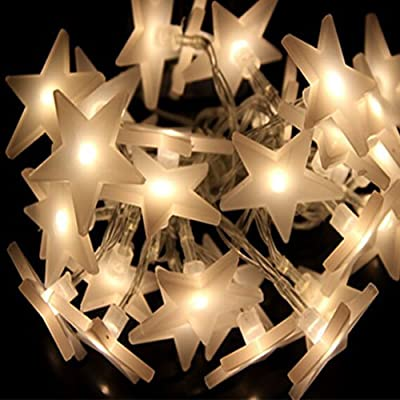 CM-Light 30 LED Fairy Lights Five-pointed Star Party Battery Operated Christmas String Lights for Outdoor Indoor Bedroom Home Xmas Wedding Party Garden Use Beatiful Decoration Light