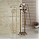 Gowe Brass Antique Floor-Mounted TUb Faucet Bathroom Clawfoot Filler Tap Double Ceramic Handles Mixer Faucet