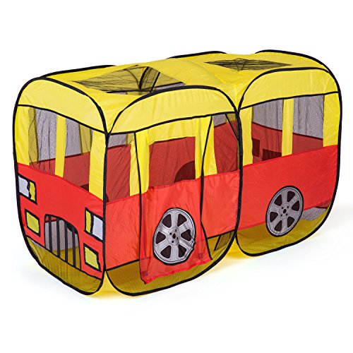 Foldable Large Space Kids Play Tents Fun Pop Up Play Tent Playhouse- Perfect Gift For Kids (Fold Up School Bus Tent)