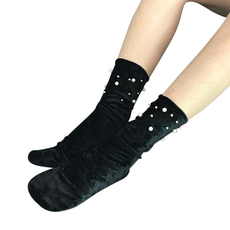 Women Velvet Socks Calf High Booties Socks Boots Women Crew Socks High Socks with pearl
