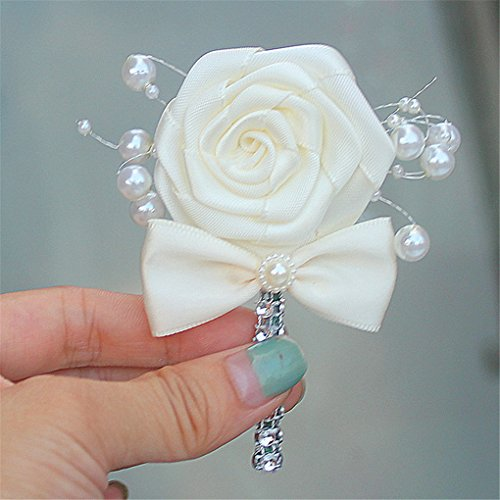 - Wedding Corsage Groom Boutonniere Cream Ribbon Rose Flower Crystal Rhinestone Pearl Beaded Brooch with Bowknot Cream, Pack of 1