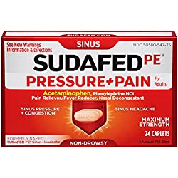 Sudafed 12 Hour Pressure + Pain Caplets, Sinus Pain Relief, 24 Count