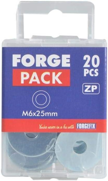 Arandelas planas 20 unidades, M8 x 25 mm Forgefix ZP