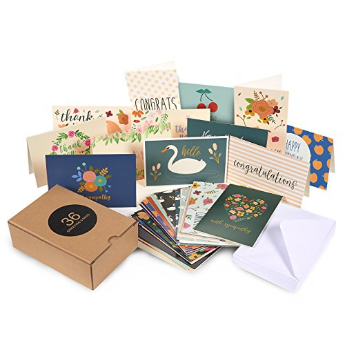 36 Pack Assorted All Occasion Greeting Cards - Includes Assorted Happy Birthday, Congratulations, Sympathy, Hello, Thank You Cards - Bulk Box Set Variety Pack with Envelopes Included - 4 x 6 Inches