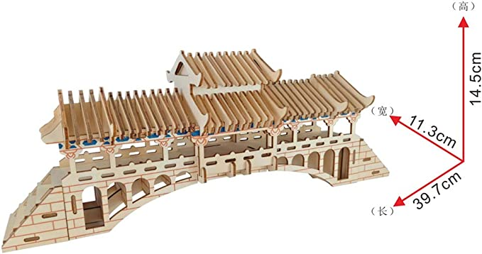 AUED Rompecabezas Tridimensional de Madera 3D Modelo de Puente Cubierto Modelo de construcción Hecho a Mano DIY Juguete Decoración Creativa, Adecuado para niños y Adultos,A: Amazon.es: Hogar