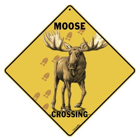 Metal Moose Crossing Sign (Stuff Inside Tin Sign)