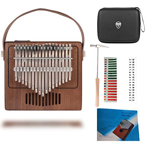 TOM Kalimba, 17 Key Thumb Piano with EVA High-performance Protective Case, Tune Hammer And Study Instruction 17 Finger Tone Mbira for Kids Adult Beginners Professionals