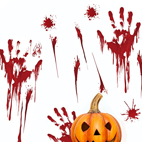 BALMOST Bloody Handprint Stickers - Halloween Window Wall Clings - 6 Sheets DIY Wall Decal Decoration for Home and Party
