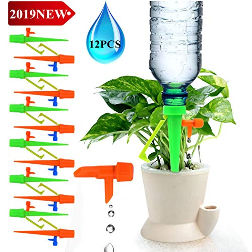 Lucstar Plants Self Watering Spike Devices Auto Dripper Kits 12 Pcs Waterers for Potted Plants Flowers Growth Vegetable Outdoor Indoor,Slow Flow Control Valve Irrigation System Equipment Garden Lawn