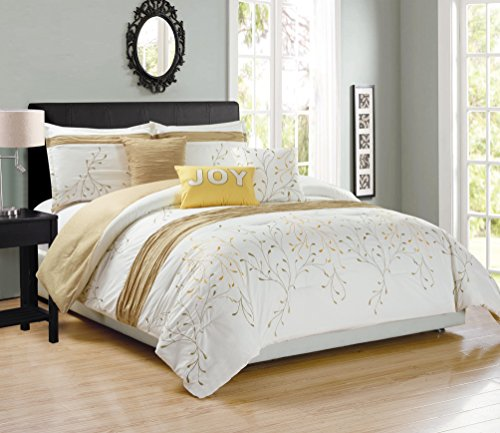 Chezmoi Collection Joy 6 Pieces Ivory/Gold Tree Branches Embroidery Design Bedding Comforter Set (Queen) (Set Queen Comforter Gold)