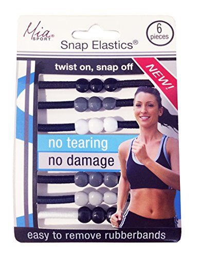 Mia Sport Snap Elastics, Rubber Bands For Hair That Twist On And Snap Off, Less Damaging, Black, Gray, White, Round Cylindrical Shape, For Women, Athletes + Girls 6 pcs