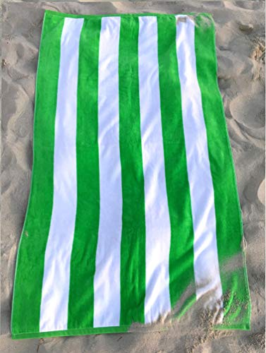 Consumable Depot %100 Cotton, Cabana, Stripe Designed Beach, Bath, Pool, Towel, Made in Turkey (Green White-1)