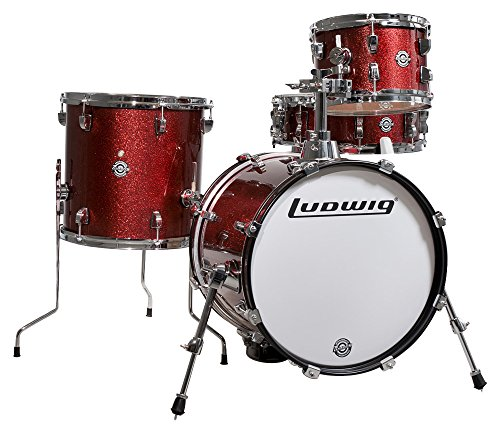 Ludwig Breakbeats 4 Piece Shell Pack w/Riser-Wine Sparkle, inch (LC179X025) ()