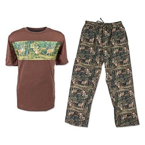 North 15 Mens Hunting Print T-Shirt and Cotton Printed Flannel Pants Pajama Set-93A-Brn/Grn-Md