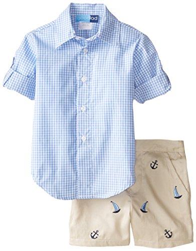 Good Lad Baby-Boys Infant Gingham Shirt Embroidered Short, Blue, 12 Months