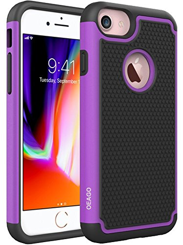 - OEAGO iPhone 8 Case, iPhone 7 Case Cover [Drop Protection] [Shock Proof] Hybrid Dual Layer Rubber Plastic Impact Defender Rugged Slim Hard Case Cover Shell for Apple iPhone 8 / iPhone 7 - Purple