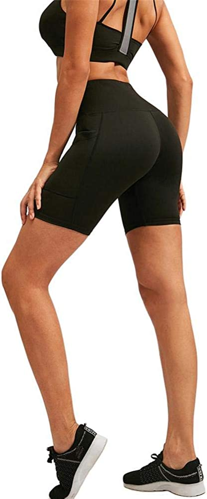 8 High Waisted Biker Shorts Yoga Compression Shorts Athletic Running Shorts with Pockets Workout Shorts for Women