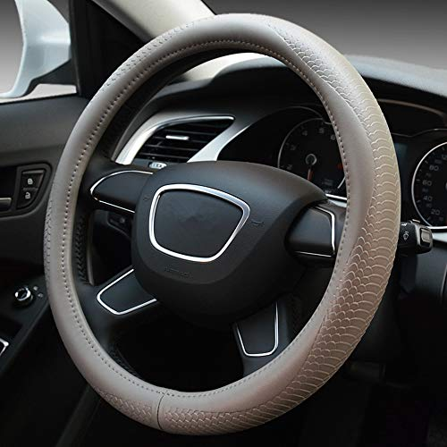GUVDYJ Steering Cover Black Car Steering Wheel Cover Genuine Leather Size 38cm for BMW Audi Lada Ford Nissan Volkswagen VW Skoda Chevrolet,Gray from GUVDYJ