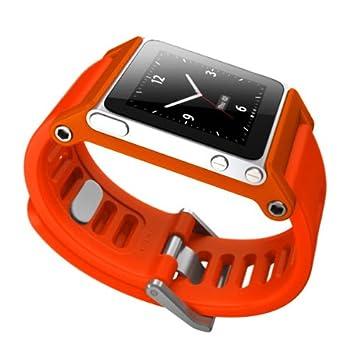 9eab41098c3f4 Alienwork Pod2Watch Watch Kits for iPod nano 6 Bracelet Strap Aluminium  orange AN607-05
