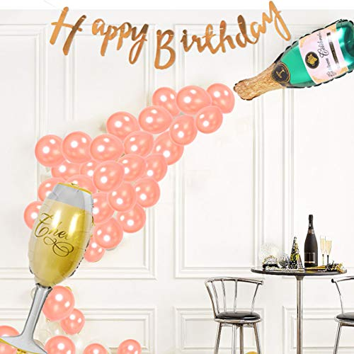 Rose Gold Birthday Party Decoration for Girl with Happy Birthday Letter Banner Champagne Goblet Shape Balloons and Rose Gold Balloons ()