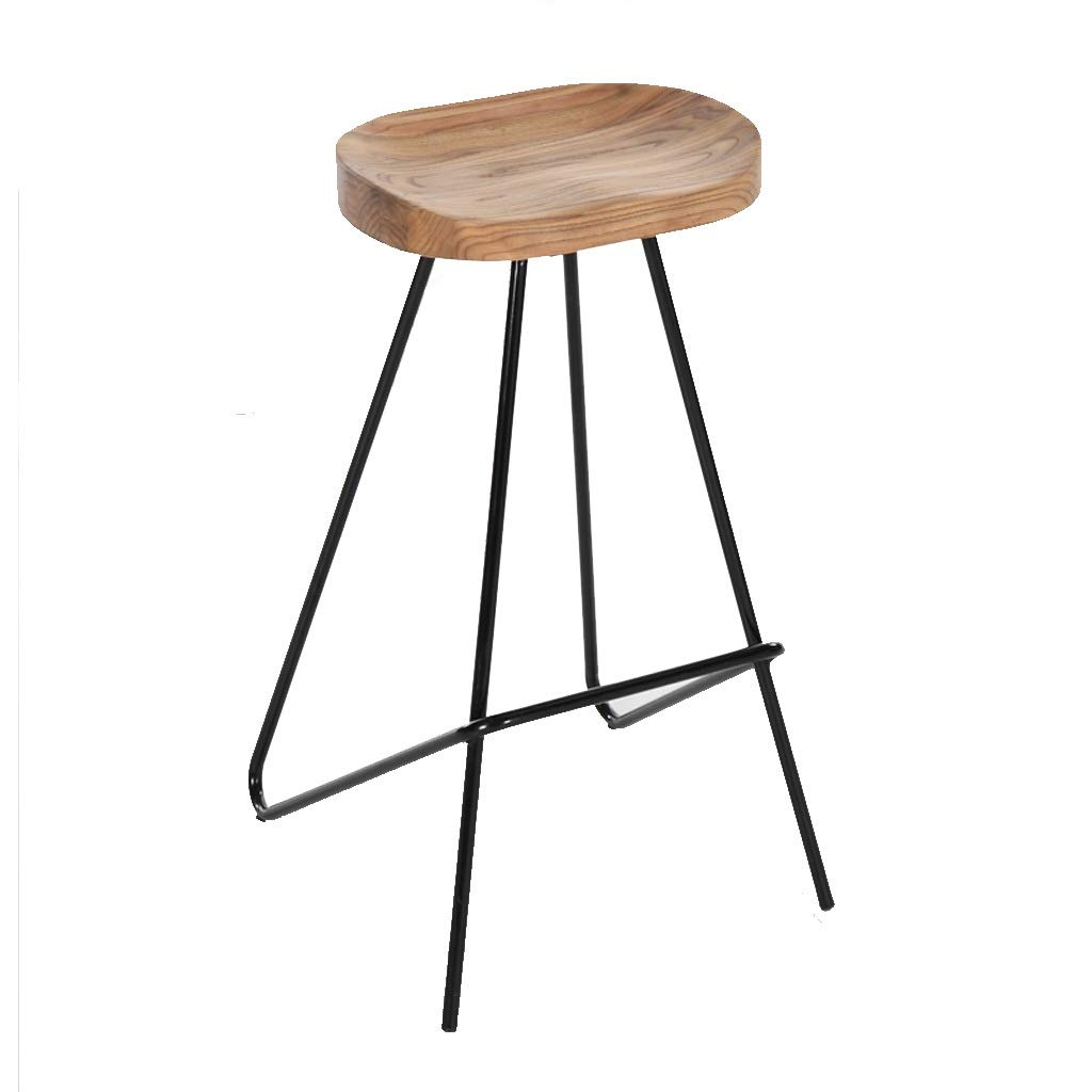 Light Barstools - Kitchen Stool Pub Bar Stools with Black Metal Frame and Solid Wood Seat Barstools Industrial Style 0520A (color   Light)
