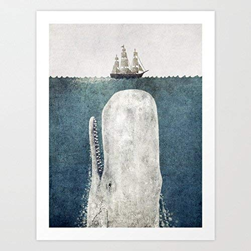 """The Whale - vintage Art Print Canvas Wall Art For Home Decoration Wooden Framed 16"""" X 20"""""""