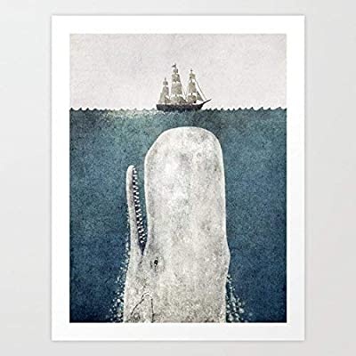 "The Whale - vintage Art Print Canvas Wall Art For Home Decoration Wooden Framed 16"" X 20"""