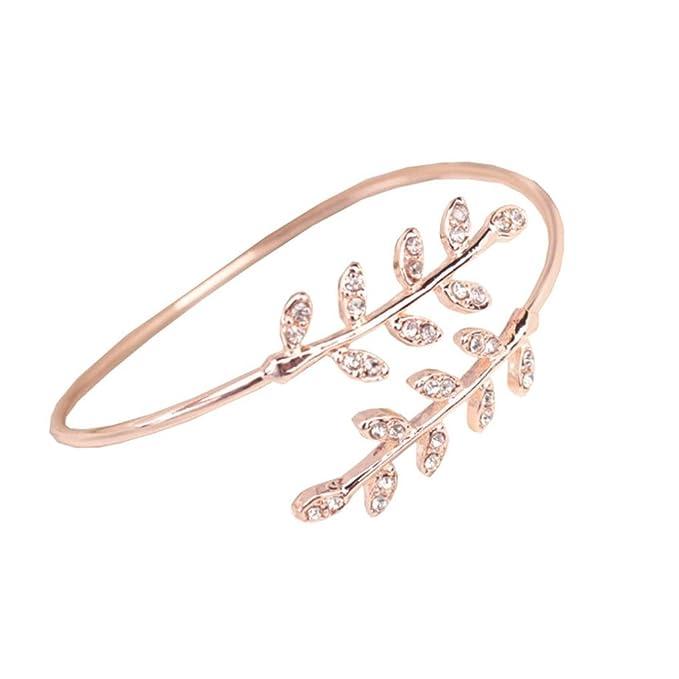 Armbänder,Hirolan Mode Frauen Blatt Manschette Charm Open Armband ...