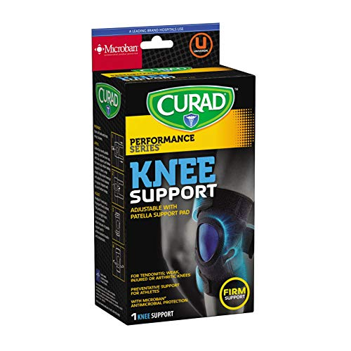 CURAD Adjustable Knee Support, for Tendonitis or Arthritic Knees, Firm Support, Microban Antimicrobial Protection, Universal Fit