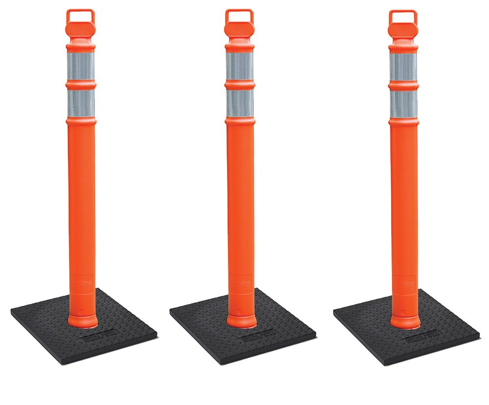 Cortina EZ Grab Delineator 45'' Post, 3'' Hip Collars with 10 lb Base, 03-747RBC-3, Orange, 3 Pack by Cortina