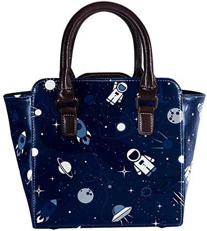 Sac à main avec poignée supérieure - Sac à main en cuir - Avec motif astronaute - Fusée lune - Étoiles noires - Motif espace extérieur - Sac à main