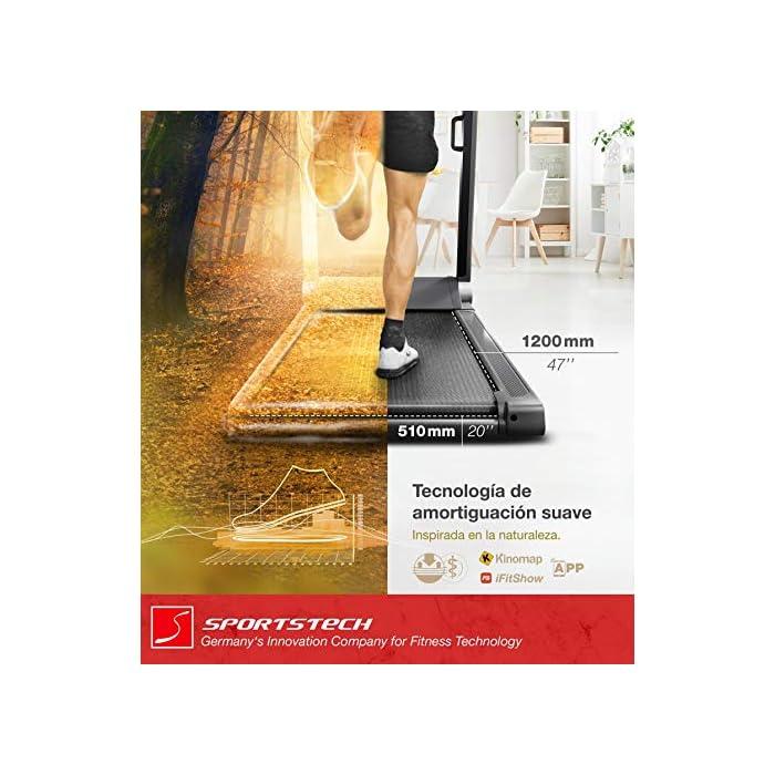 51OD4YJasBL ULTRA SLIM: Con el práctico sistema Easy-Folding, con tan solo 21 cm de altura al plegarse, la cinta de correr se adapta a cualquier espacio de la casa como por ejemplo debajo de la mesa o debajo del sofá. EVENTOS EN VIVO, COACHING Y MODO MULTIJUGADOR: Con KINOMAP y Sportstech empieza tu entrenamiento de nueva generación. Experimente Home Fitness 2.0 con la consola multimedia compatible con la aplicación y el práctico soporte para tablets SALUD: tecnología de amortiguación con 9 programas preinstalados + modo HRC. Compatible con pulsómetro pectoral e innovadora función de pulsos de huellas dactilares para un entrenamiento cardiovascular óptimo.