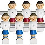 Brybelly Old-Style Foosball Men with Hardware (Set of 6), Red and Blue
