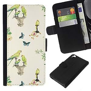 KLONGSHOP // Tirón de la caja Cartera de cuero con ranuras para tarjetas - Aves primavera papel pintado de la vendimia - HTC Desire 820 //