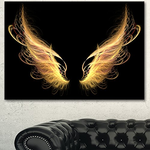 Golden Angel Wings on Black Oversized Abstract Canvas Art - Golden Angel Art