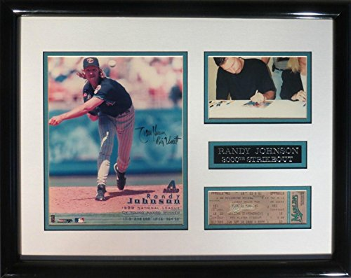 Randy Johnson 'Big Unit' Signed Framed 8x10 Photo w/3000th SO Ticket - PSA/DNA Certified - Autographed MLB (Randy Johnson Autograph Framed Photo)