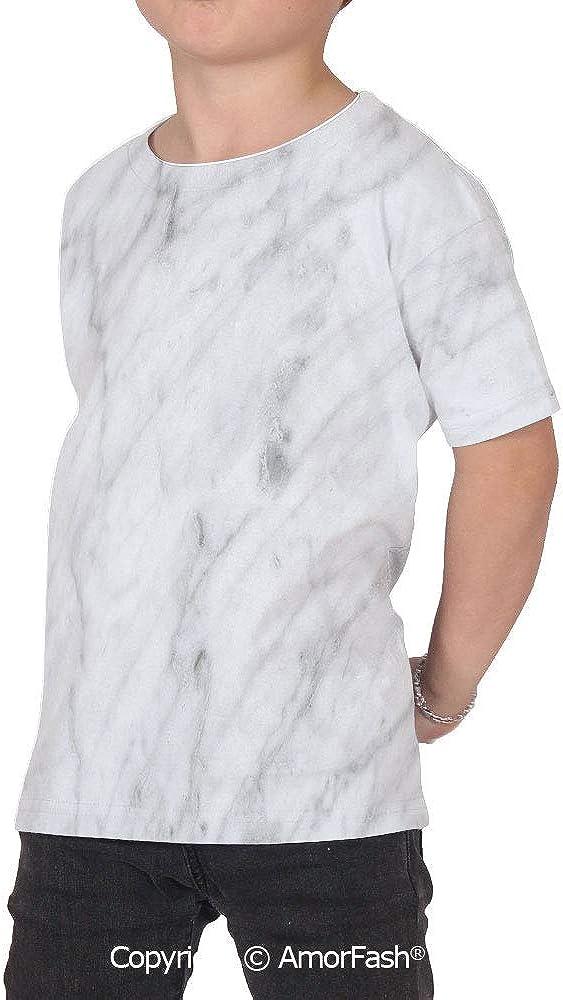Marble Childrens Classic Basic Printed Ultra Comfortable T-Shirt,Carrara Marbl