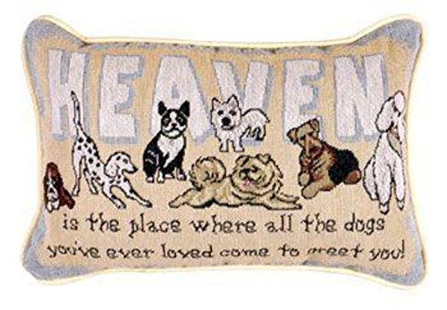 Set of 2 Heaven Dogs Decorative Throw Pillows 9 x 12