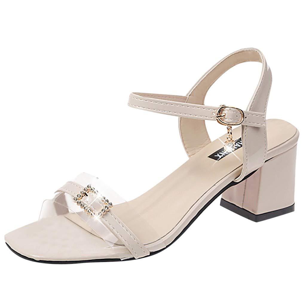 Women's Shoes for Women SYHKS Ladies Summer Pumps High Heel Sandals Casual Bucket Open Toe Sandles for Women(Beige,39)
