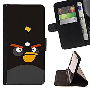 DEVIL CASE - FOR Sony Xperia Z2 D6502 - Funny Cute Mad Bird - Style PU Leather Case Wallet Flip Stand Flap Closure Cover