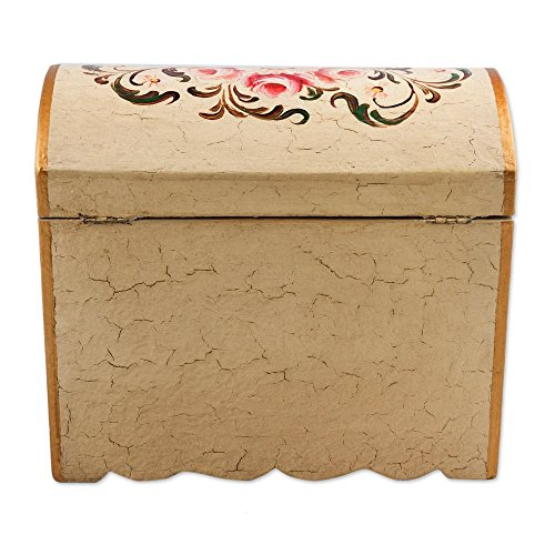 NOVICA Handcrafted White and Pink Mini Chest of Drawers Floral Wood Jewelry Box, Rose Bouquet' by NOVICA (Image #6)