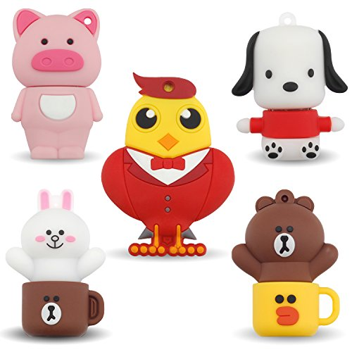 USB Flash Drive 8GB Pack of 5 Cute Pendrives Student Storage Thumbdrive(Rooster Puppy Piggy Bear Rabbit) ()