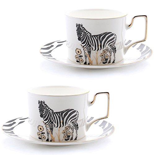 Zebra Design Tea Coffee Cup & Saucer Set of 2 Bone China Porcelain with Golden Painting 8.5 Oz (Zebra Porcelain)