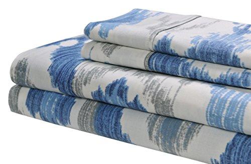 Superior 300 Thread Count Cotton Mountlake Print Sheet Set King Blue