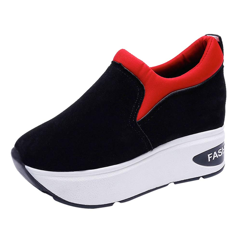 Claystyle Women Fashion Sneakers Sports Running Hiking Thick Bottom Platform Shoes(Red,US: 6.5) by Claystyle Shoes (Image #1)