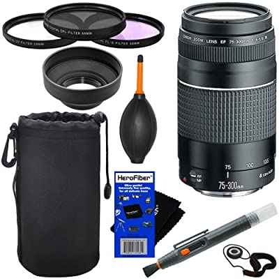 Canon EF 75-300mm f/4-5.6 III Telephoto Zoom Lens for Canon EOS series of Digital SLR Cameras + 10pc Bundle Deluxe Accessory Kit by Canon Cameras