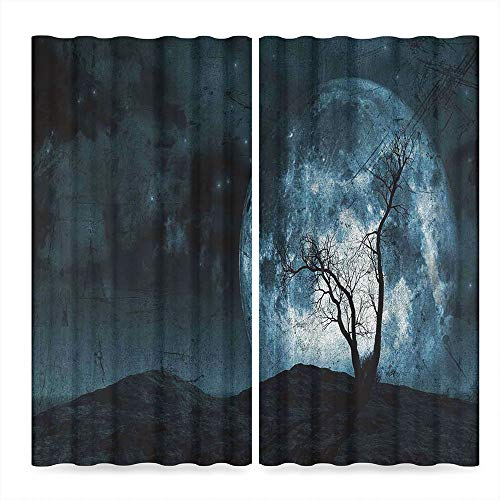 (TecBillion Fantasy Window Curtains,Night Moon Sky with Tree Silhouette Gothic Halloween Colors Scary Artsy Background,Living Room Bedroom Curtain, 2 Panel Set,103W X 72L)