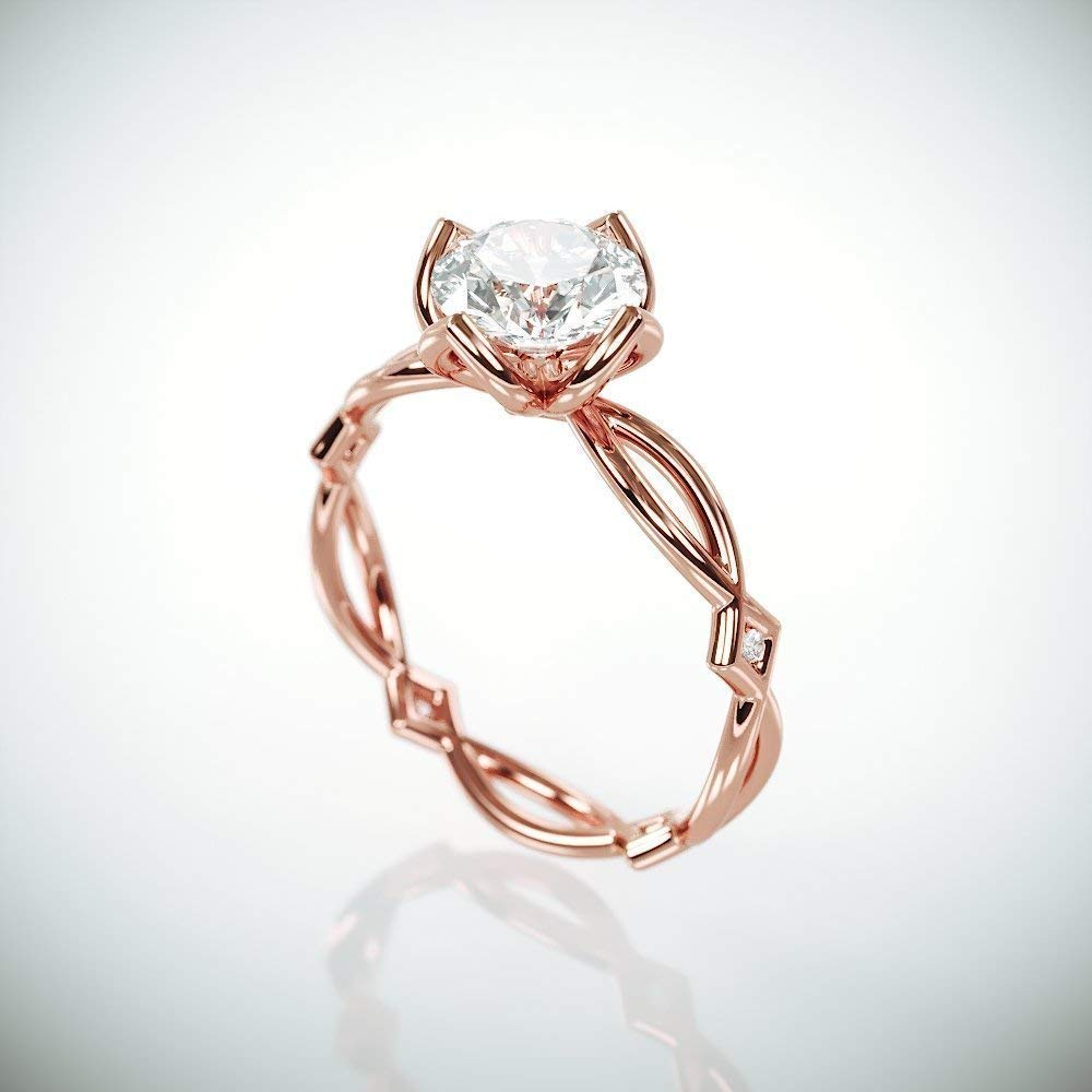 Amazon Com Delicate Moissanite Engagement Ring 14k Rose Gold Engagement Ring Set With 1ct C C F1 Moissanite And Diamonds Handmade