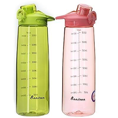BONISON Sports Water Bottle with Flip Top Lid