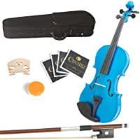 Mendini 16-Inch MA-Blue Solid Wood Viola with Case, Bow, Rosin, Bridge and Strings